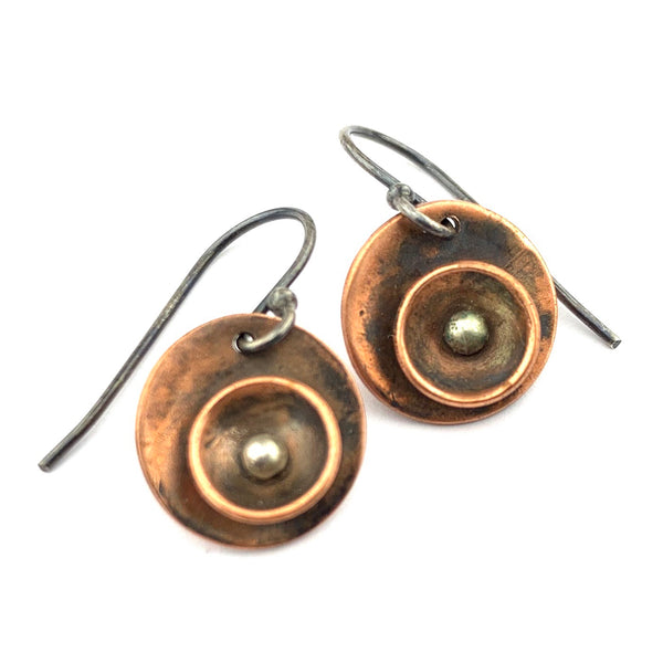 Copper and Silver Cup Earrings