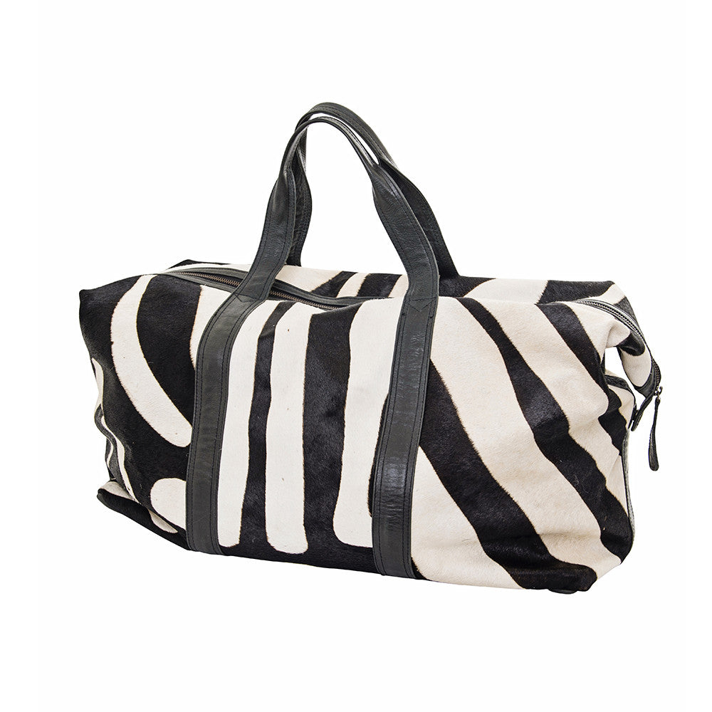 african luxe zebra travel bag