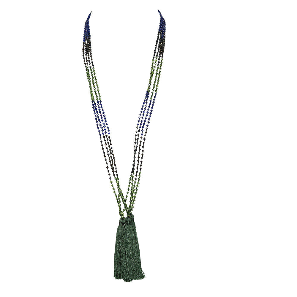 crystal & silk tassel necklace
