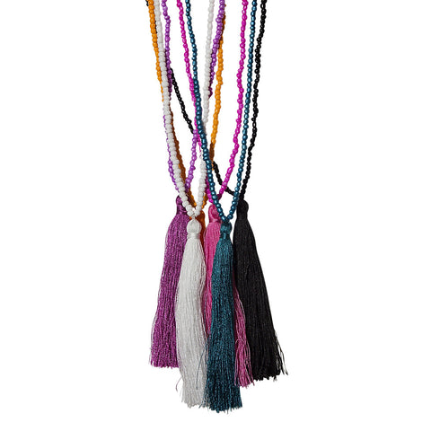 bold colour beads & tassel necklace