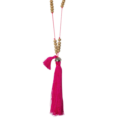 beads & cotton tassel necklace
