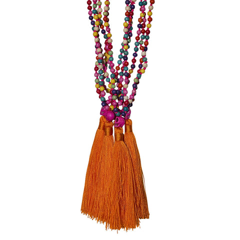 beads multi, skull & silk tassel necklace