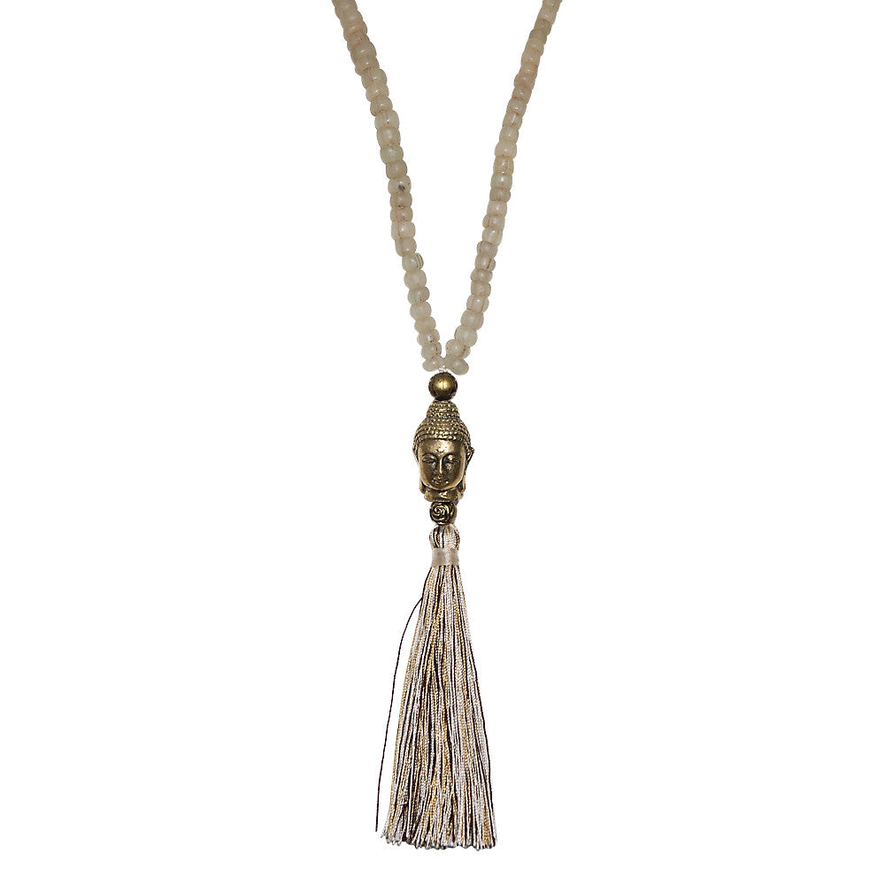 stone & brass buddha necklace