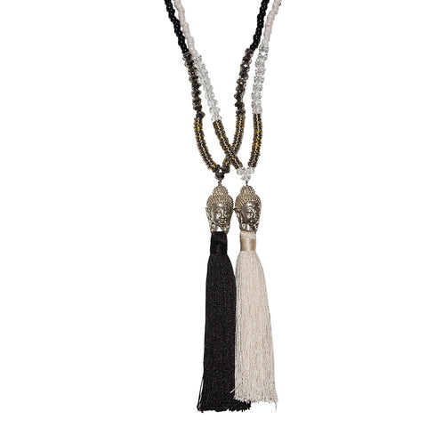 crystal, buddha & silk tassel necklace