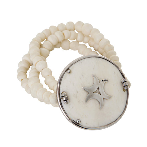 bone bracelet with silver trim