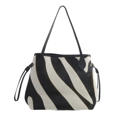 african luxe zebra shoulder bag