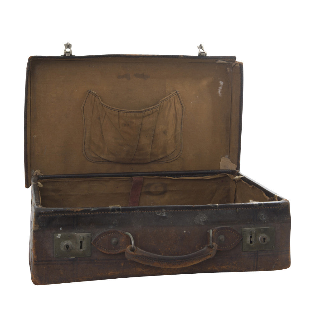 antique leather trunk medium