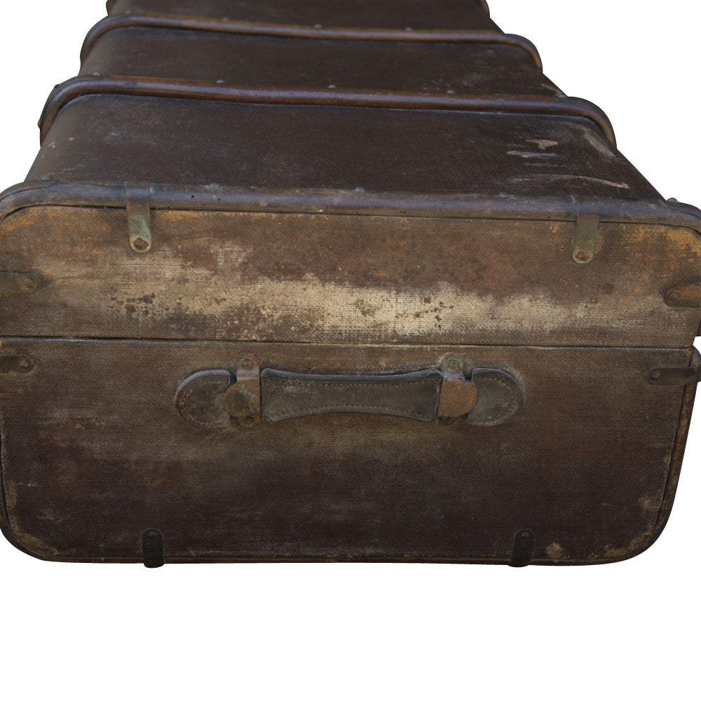 antique leather trunk large