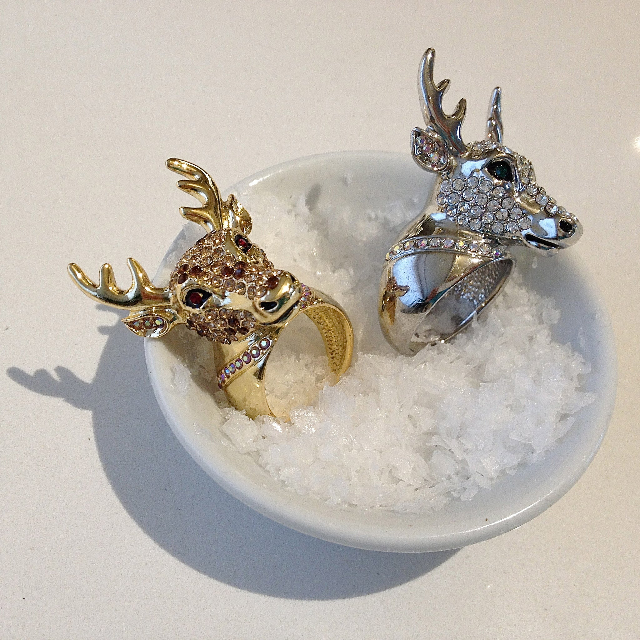 jewelled reindeer rings
