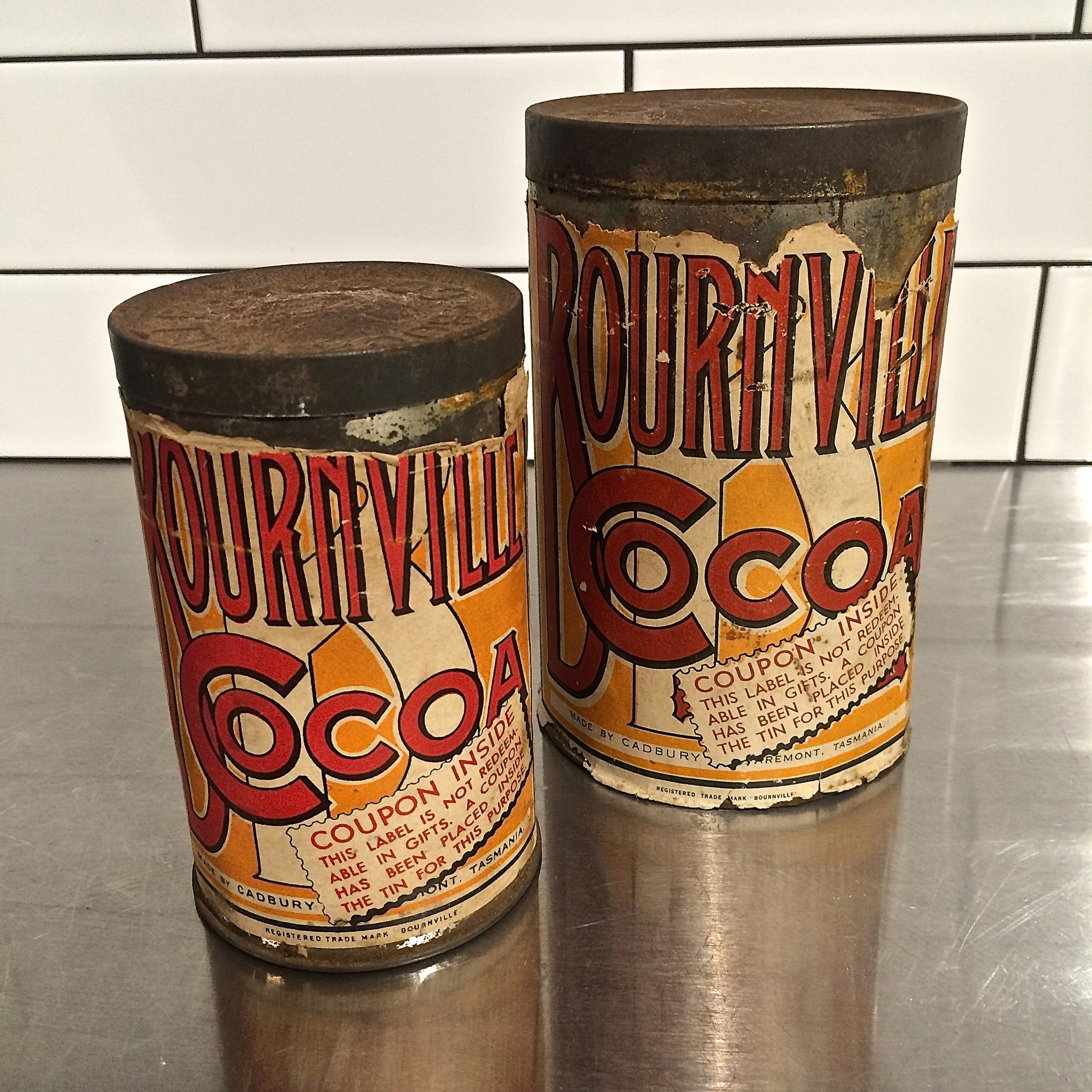 vintage bournville coco tins