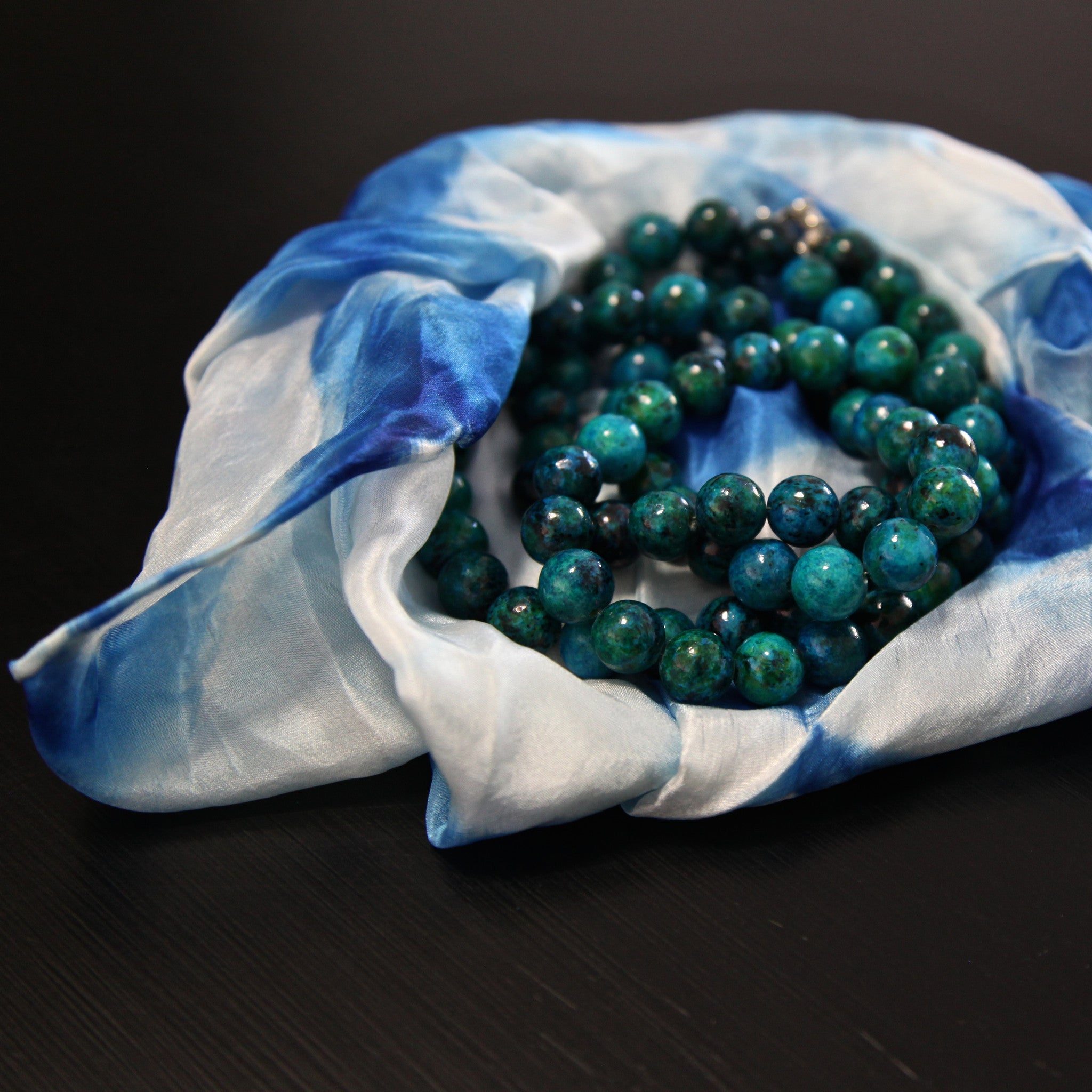silk scarf combo - blue & white