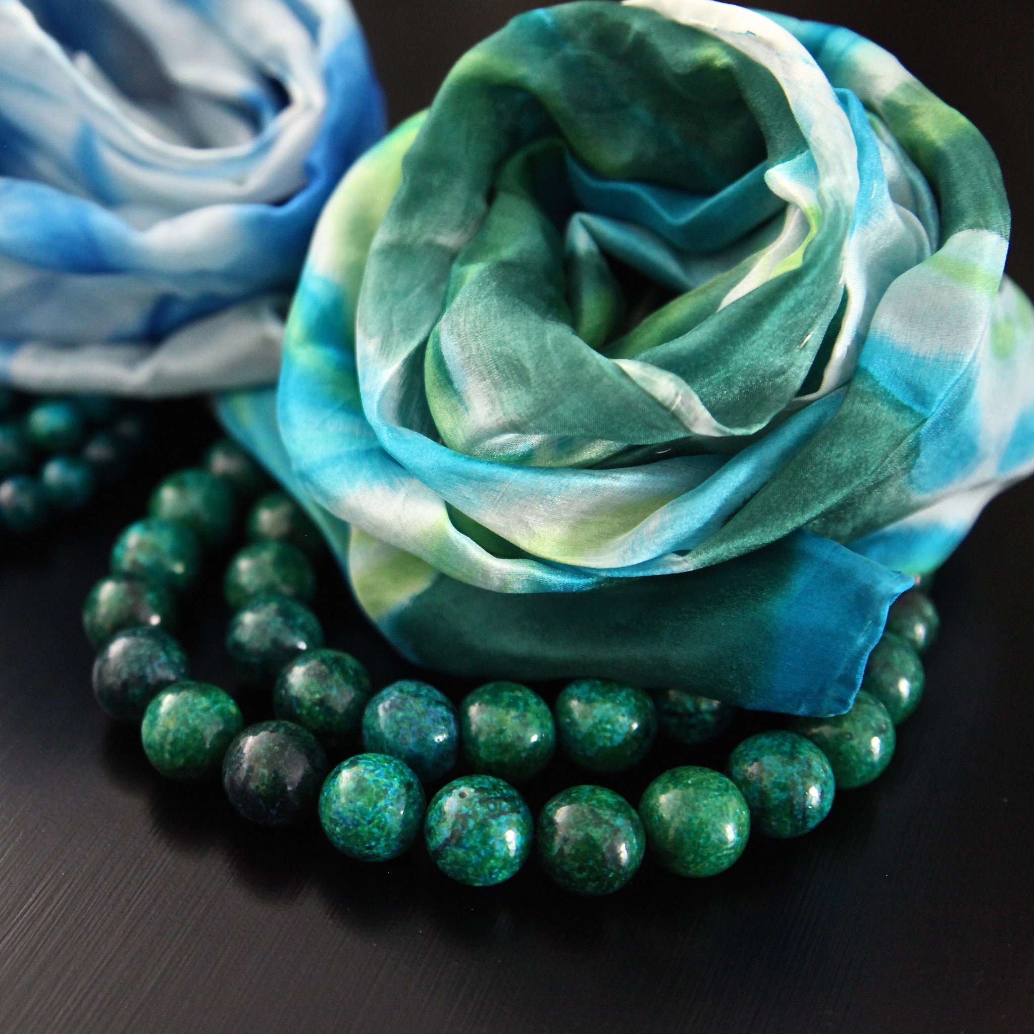 silk scarf combo - green & blue