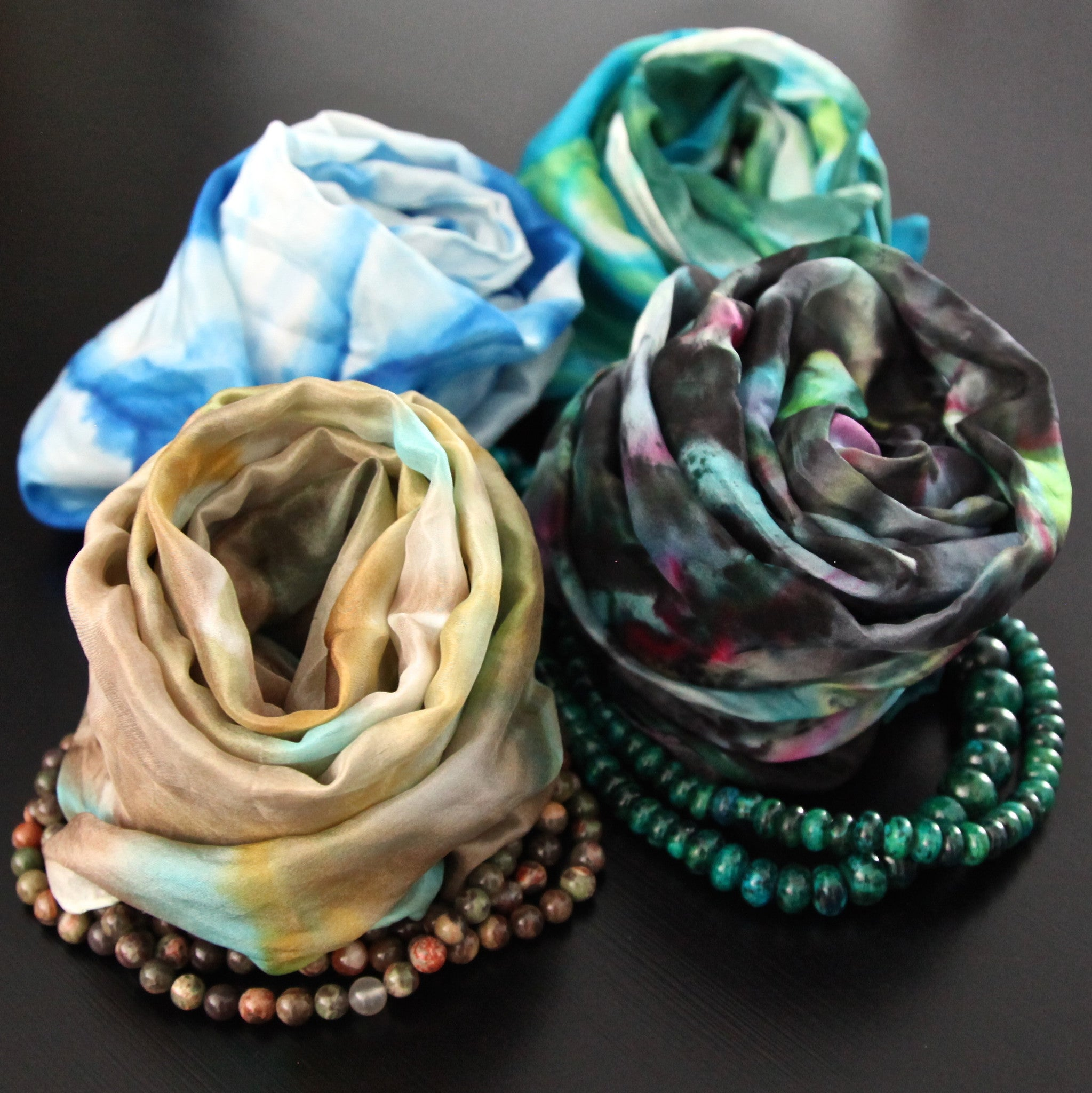 silk scarf combo - rich & dark