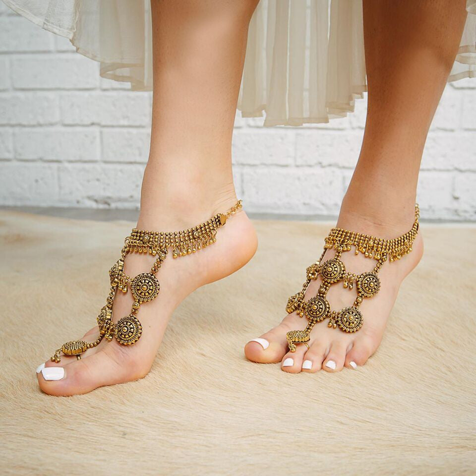 barefoot sandals - boho goddess in gold