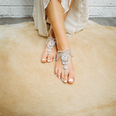 barefoot sandals - enchanted silver
