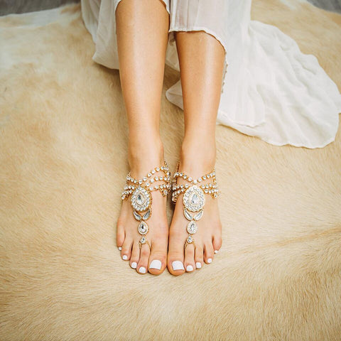 barefoot sandals - enchanted in gold