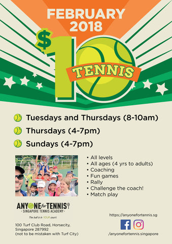 $10 Tennis! All the way throughout February. Call/Whatsapp/Sms/Email to register!