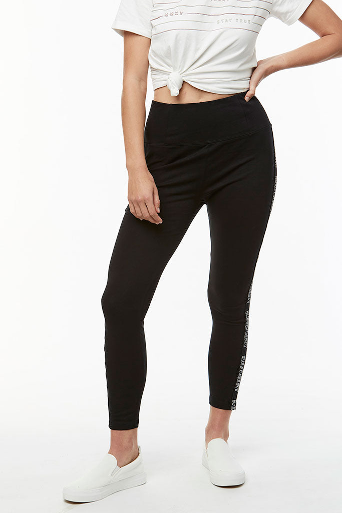 Tape Detail Leggings _ 114722 _ Black