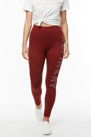 Branded Leggings _ 114727 _ Burgundy