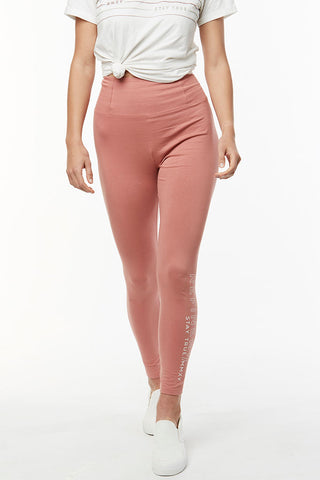 Branded Leggings _ 114736 _ Dirty Pink