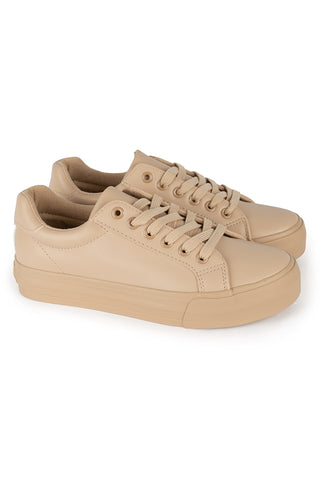 Pu Lace-Up Sneaker _ 118356 _ Stone