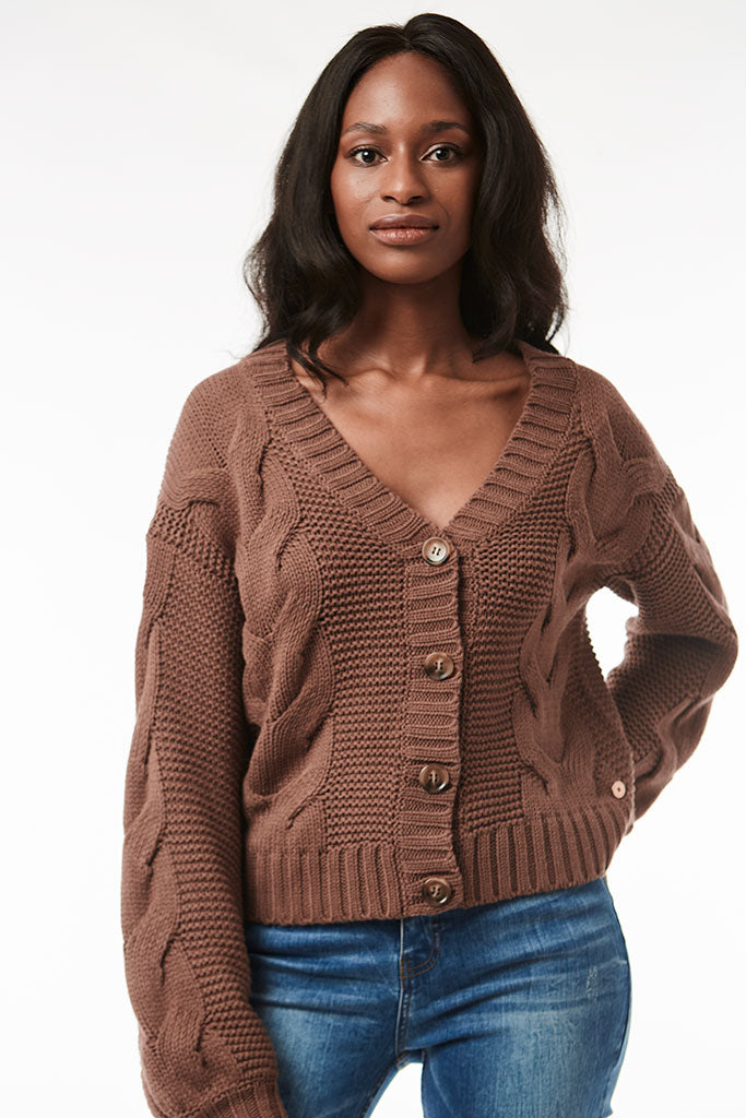 Cropped Cardigan _ 118873 _ Brown