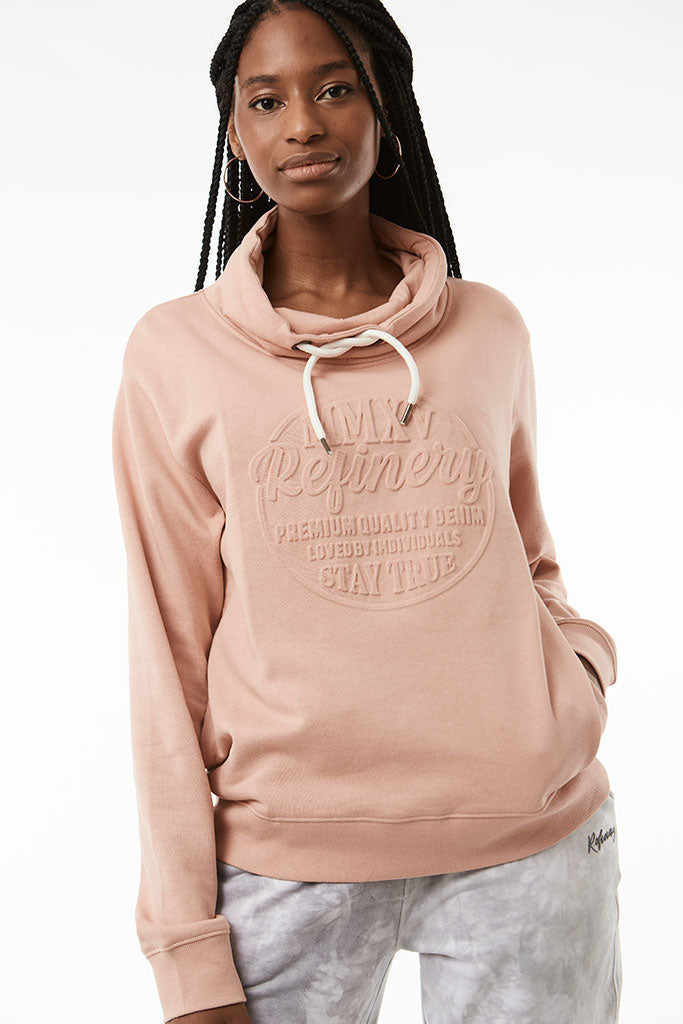 Cowl Neck Sweat _ 119204 _ Peach