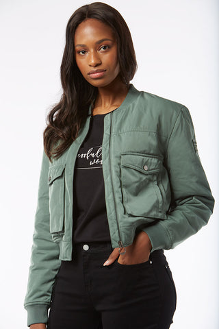 Cropped Bomber Jacket _ 119362 _ Green
