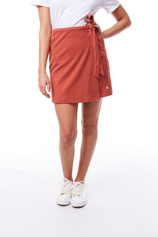 Textured Skirt _ 115604 _ Brick