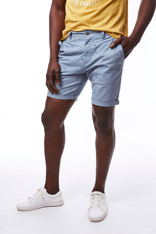 Printed Chino Shorts _ 114563 _ Pale Blue