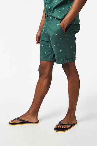 Printed Chino Shorts _ 114573 _ Emerald