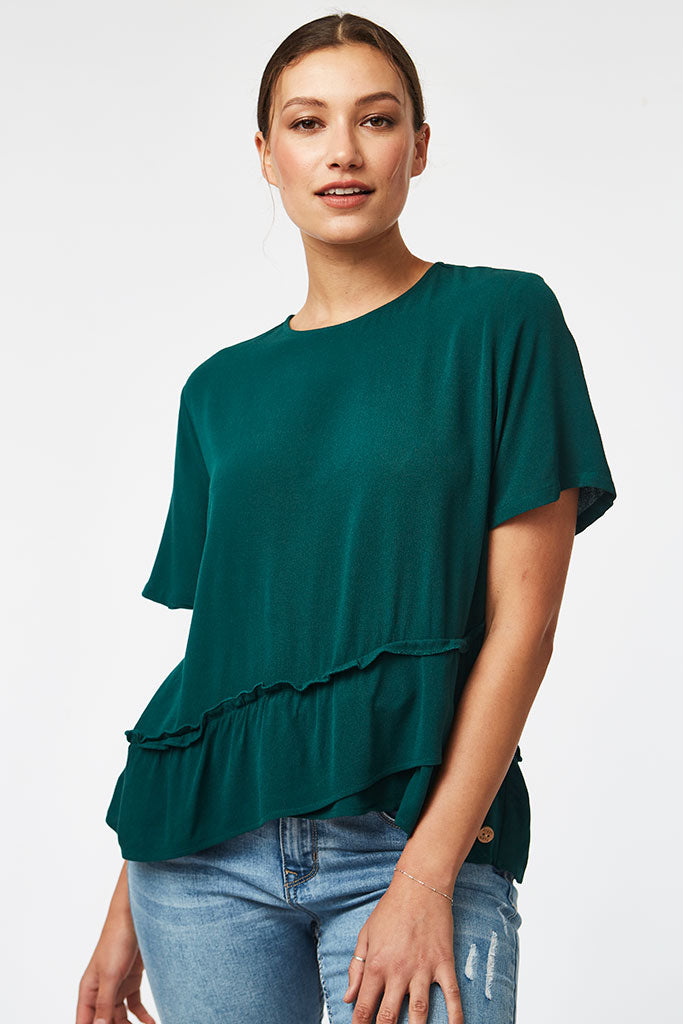 Frill Blouse _ 116831 _ Green