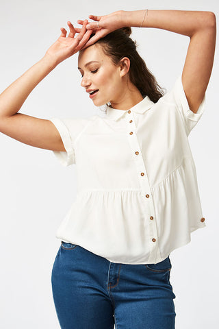 Peplum Shirt _ 116833 _ White