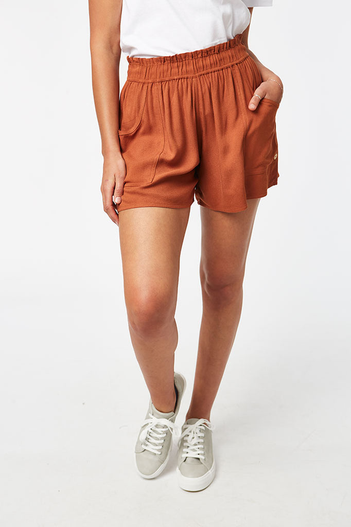 Elasticated Shorts _ 116810 _ Cinnamon