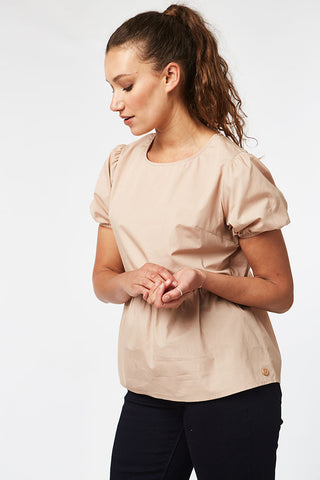 Puff Sleeve Peplum Top _ 116832 _ Beige