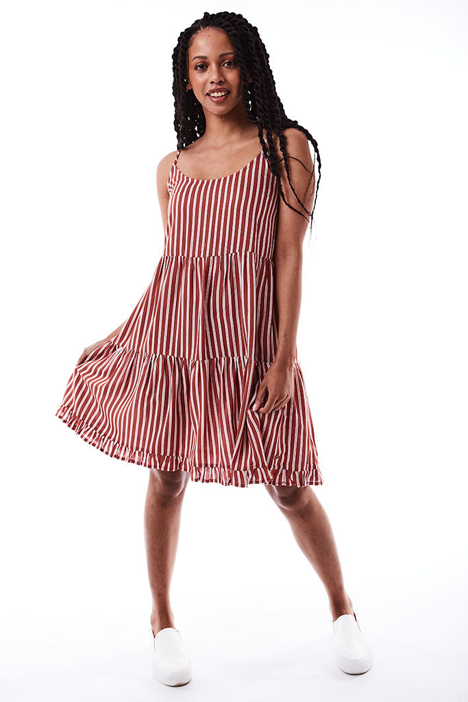Strappy Tiered Dress _ 116658 _ Berry