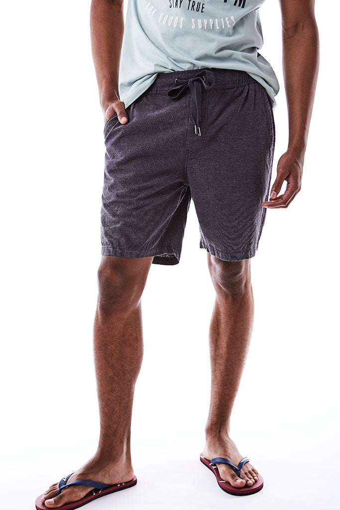 Linen Look Shorts _ 114652 _ Dark Grey
