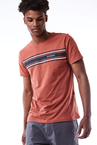 Chest Stripe Fashion Tee _ 115069 _ Brick