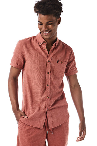 Linen Look Shirt _ 114672 _ Rust