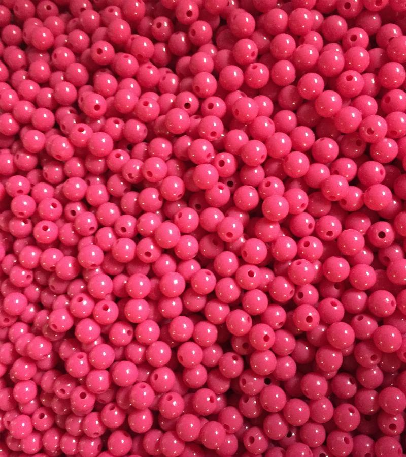 PL65-Plain Hot Pink Beads