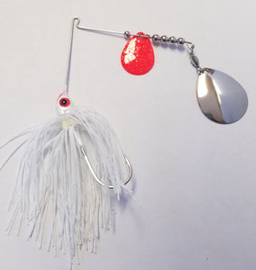 White w/Red & Silver Bass Spinnerbaits