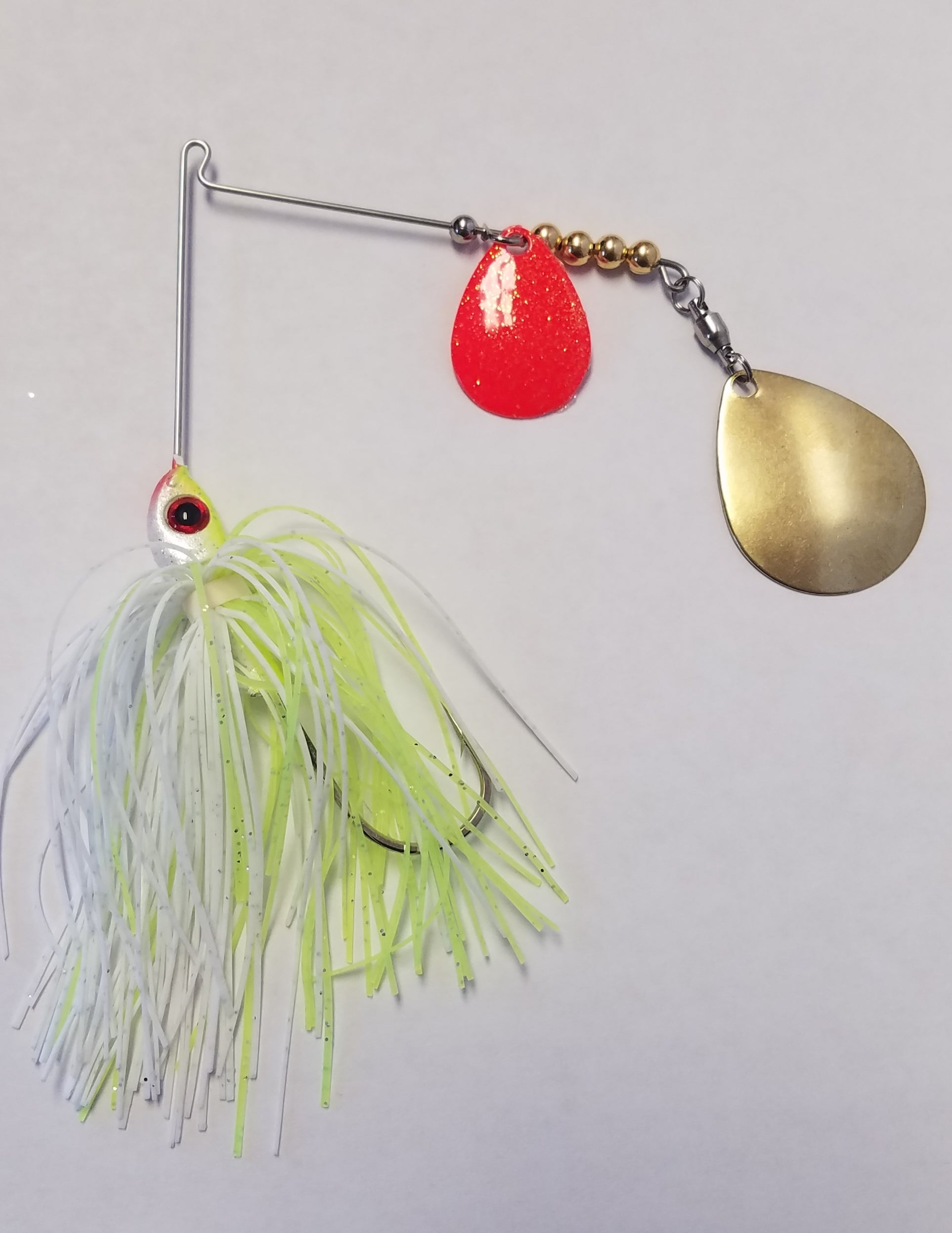 Char White w/Red & Gold Bass Spinnerbaits