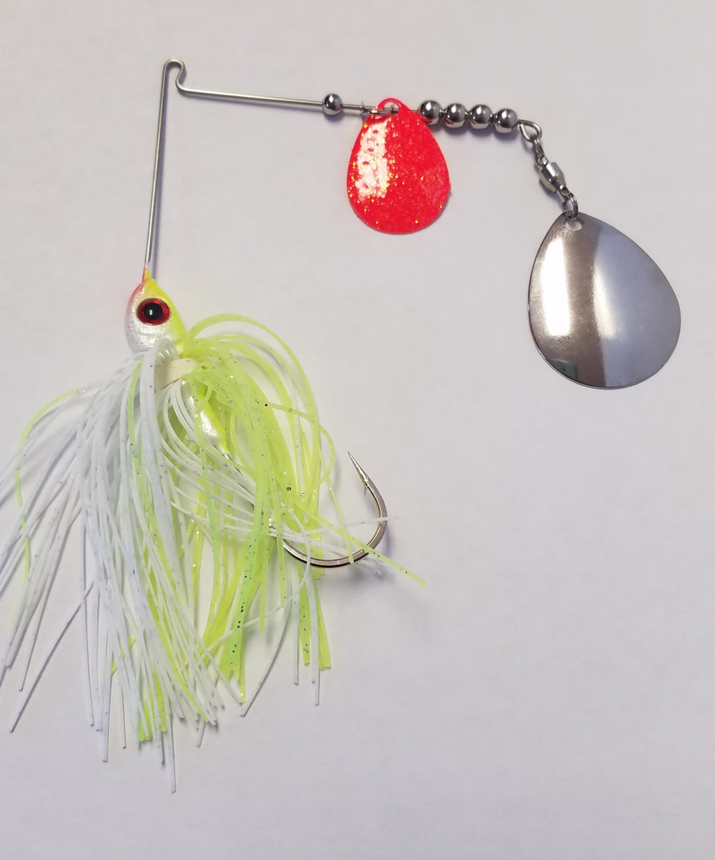 Char White w/Silver & Red Bass Spinnerbaits