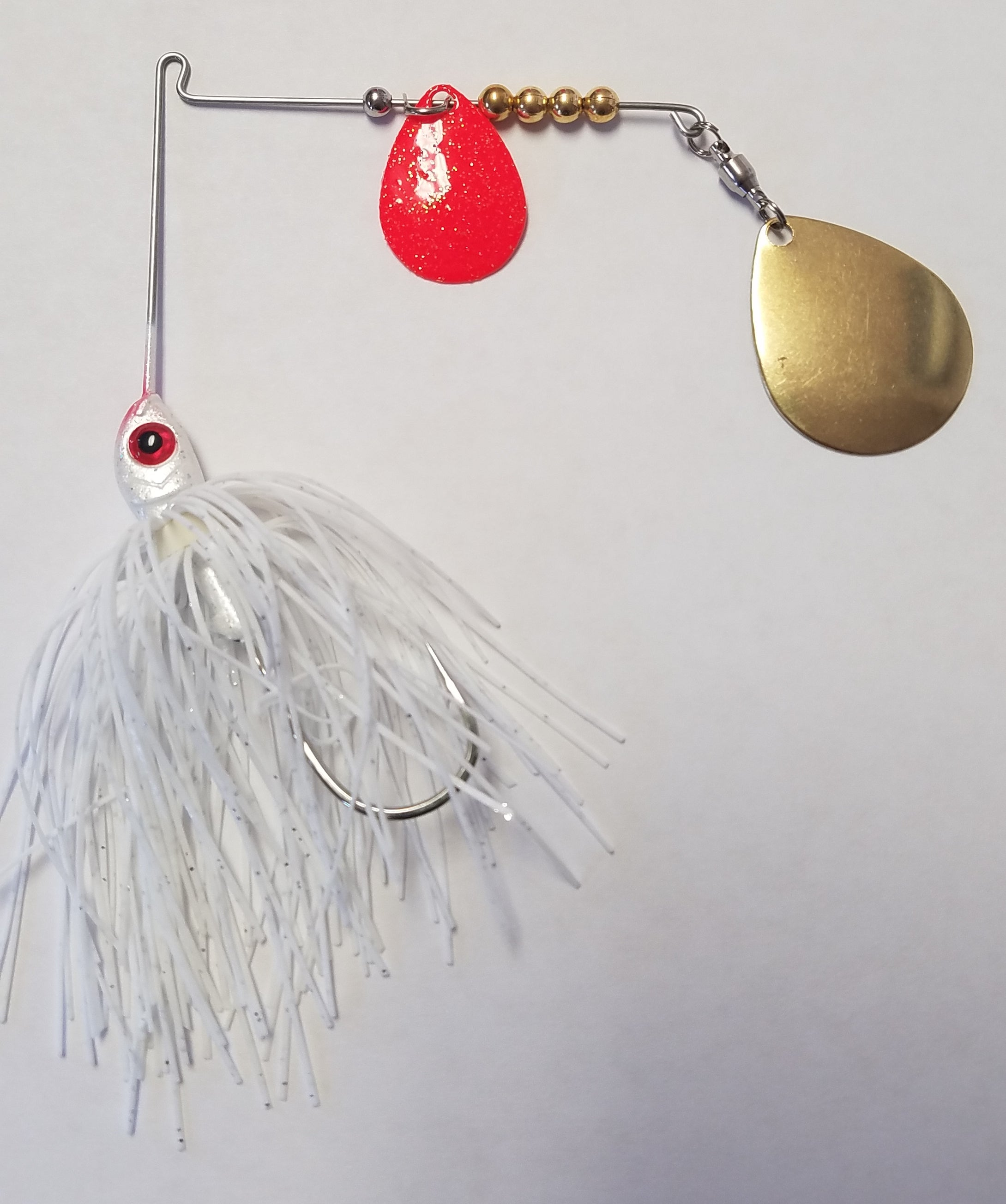 White w/Red & Gold Bass Spinnerbaits