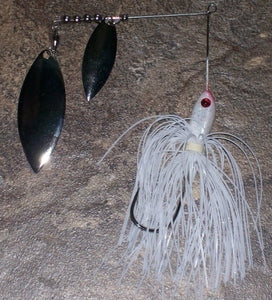 1/4 oz White/Silver Blades Small Spinnerbaits