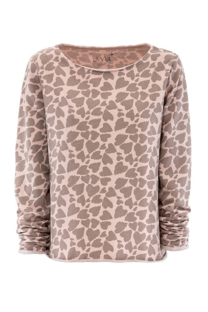 Juvia <br/> Heart Print Fleece Sweater <br/> dusty rose