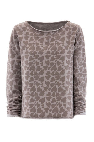 Juvia <br/> Heart Print Fleece Sweater <br/> taupe