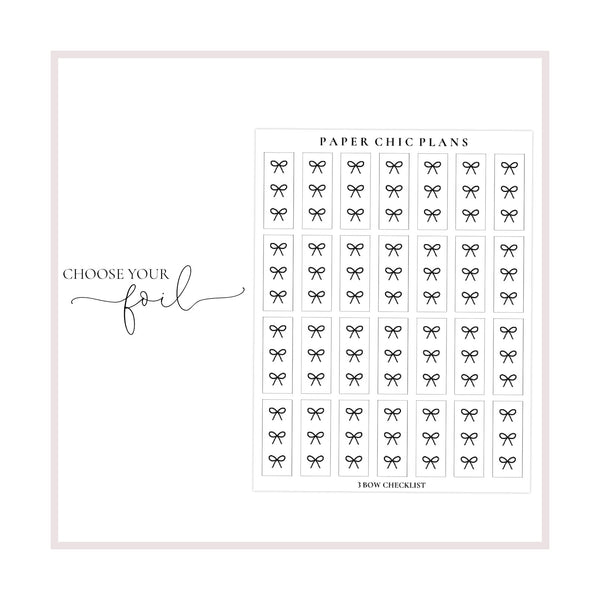 Small Bow Checklists // Foiled - Paper Chic Plans