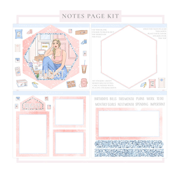 AUGUST // Hexagon Notes Page Kit - Paper Chic Plans