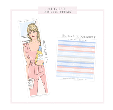 AUGUST // ADD ON ITEMS // Vertical Monthly Planner Kit - Paper Chic Plans